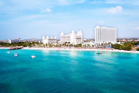 aruba: Aerial from Palm Beach on Aruba island in the Caribbean Sea