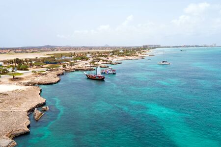 west  coast: Aerial from the west coast from Aruba island in the Caribbean Sea Stock Photo