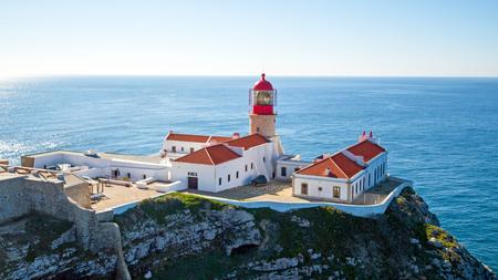 Luchtfoto van de vuurtoren Cabo Vicente in Sagres Portugal