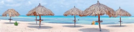 aruba: Panorama from grass umbrellas at the beach on Aruba islandImage ID:425268115