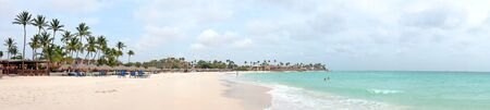 caribbean beach: Panorama from Druif beach on Aruba island in the Caribbean Sea