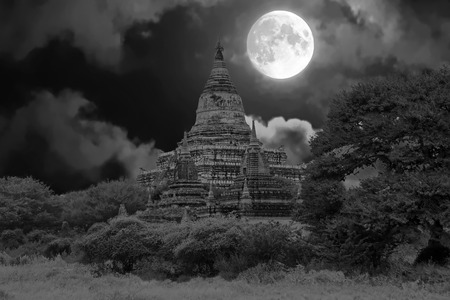 sight seeing: Ancient pagodas in the countryside from Bagan in Myanmar by full moon