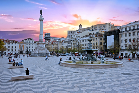 Rossio square in Lisbon Portugal at sunset Stock Photo