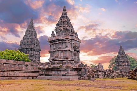 Prambanan or Candi Rara Jonggrang is a Hindu temple compound in Java, Indonesia, dedicated to the Trimurti: the Creator (Brahma), the Preserver (Vishnu) and the Destroyer (Shiva) Stock Photo