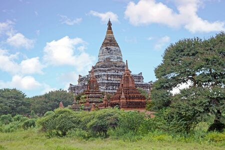 Ancient pagodas in the countryside from Bagan in Myanmar Stock Photo