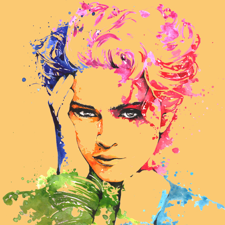 The famous pop singer Madonna on a water color painting