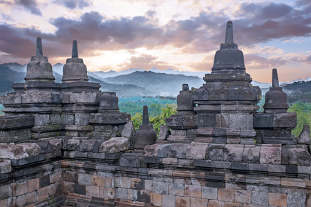 Borobudur Temple in central Java in Indonesia. This famous Buddhist temple is dating from the 8th and 9th centuries