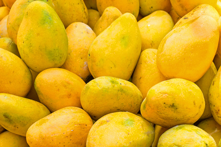 Fresh papayas in a market stall in India