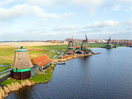Aerial from famous traditional windmills at Zaanse Schans in the Netherlands