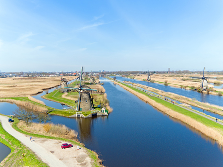 Aerial from famous traditional windmills on Kinderdijk in the Netherlands
