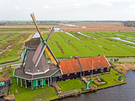 Traditional windmill at Zaanse Schans in the Netherlands