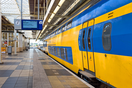 Train departing from Amstel station in Amsterdam the Netherlands