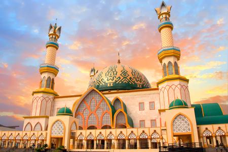 Habbul Wathan Mosque, Islamic Centre of West Nusa Tenggara, Mataram, Lombok, Indonesia at sunset