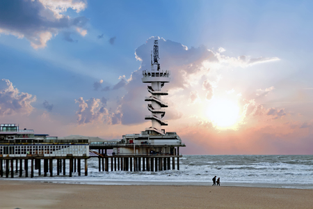 The Pier in Scheveningen in the Netherlands at sunset
