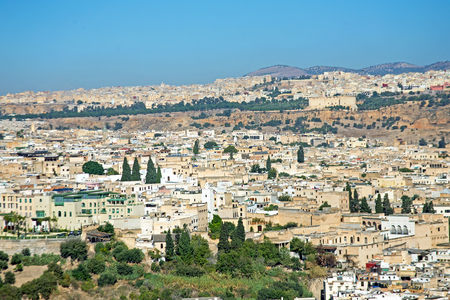 Aerial from the city Fes (Fez) in Morocco Africa