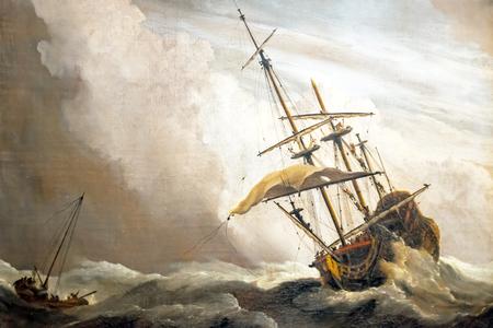 """Una nave in alto mare catturata da uno squall, noto come """"The Gust"""", Willem van de Velde (II), c. 1680"""