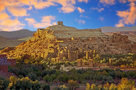 The fortified town of Ait ben Haddou near Ouarzazate Morocco on the edge of the sahara desert in Morocco at sunset. Famous for its use as a set in many films such as Lawrence of Arabia, Gladiator Editorial