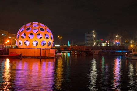 AMSTERDAM, NETHERLANDS - DECEMBER 26, 2013: Light festival in Amsterdam the Netherlands by night