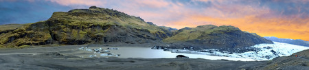 Solheimajokull Glacier in Iceland at sunset