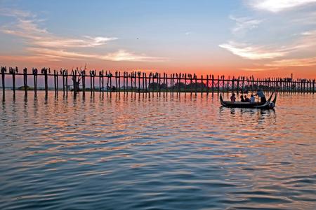 U-bein bridge in Mandalay Myanmar at sunset Stock Photo