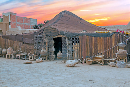 Bedoein tent in Morocco Africa at sunset