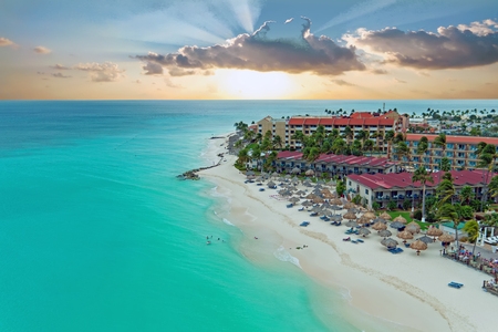 Aerial from Manchebo beach on Aruba island in the Caribbean at sunset Banque d'images