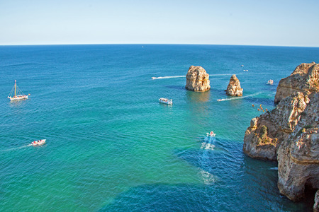 Aerial from natural rocks at Ponte Piedade in Lagos Portugal