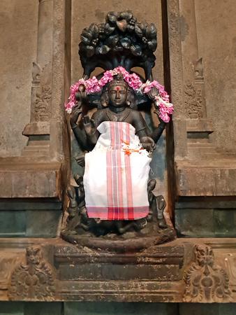 Ancient Durga statue in the Sri Ramana Ashram in Tiruvanamalai India