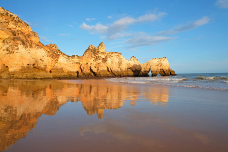 Natural rocks at Praia Tres Irmaos in Alvor the Algarve Portugal