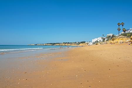 The beach in Armacao de Pera in the Algarve Portugal Stockfoto