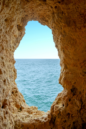 Natural rocks at Algar Seco in Carvoeiro Algarve Portugal