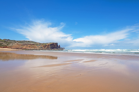 View from Carapateira beach in the Algarve Portugal Standard-Bild - 123552782