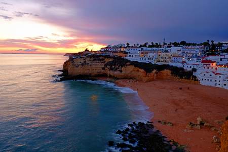 The village Carvoeiro in the Algarve Portugal at sunset Standard-Bild - 123552784