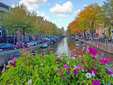City scenic from Amsterdam in the Netherlands in fall Standard-Bild - 123552786