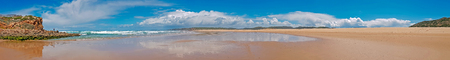 Panorama from Carapateira beach in the Algarve Portugal Standard-Bild - 123552875