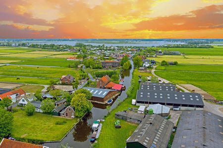 Aerial from the village Zevenhuizen in the countryside from the Netherlands Standard-Bild - 123552882