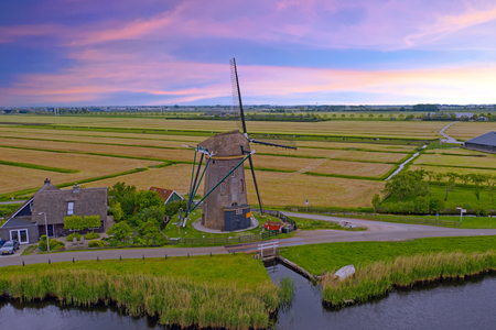 Aerial from a traditional windmill in the countryside from the Netherlands Standard-Bild - 123552883