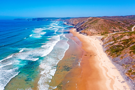 Aerial from Praia Vale Figueiras at the westcoast in Portugal Standard-Bild - 123552884