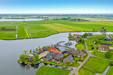 Aerial from the village Zevenhuizen in the countryside from the Netherlands Standard-Bild - 123552886