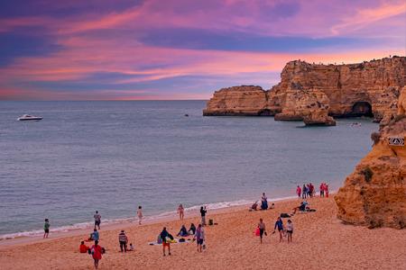 Praia da Marinha in the Algarve Portugal at sunset Standard-Bild - 123571547
