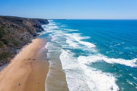 View on wild Vale Figueiras beach in Portugal Standard-Bild - 123552990