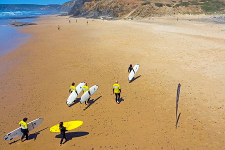 Vale Figueiras, Portugal - 25th may 2019: Aerial fromsurfers after surfing lessons on the beach