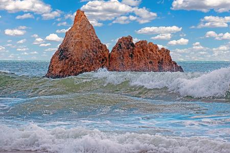 Natural rocks at praia Tres Irmaos in Alvor Algarve Portugal Stockfoto