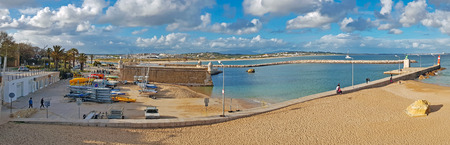 Panorama from forte de Bandeira and the harbor in Lagos the Algarve Portugal Europe