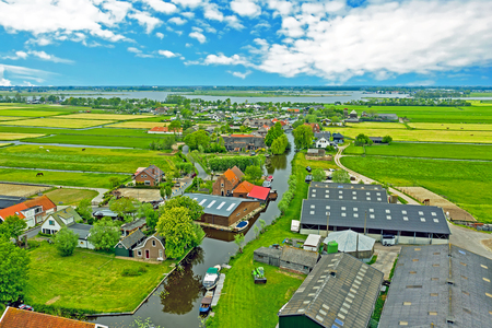 Aerial from the village Zevenhuizen in the countryside from the Netherlands Standard-Bild - 123553108