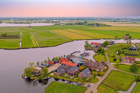 Aerial from the village Zevenhuizen in the countryside from the Netherlands Standard-Bild - 123553114