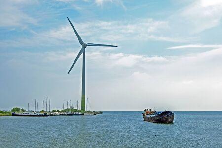 Windturbine at the IJsselmeer in the Netherlands