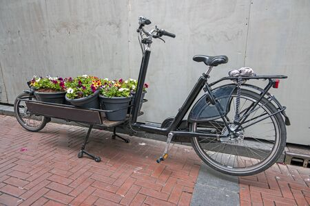 Bike cart full with flowers in Amsterdam the Netherlands