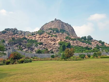Gingee fort in the countryside from Tamil Nadu in India