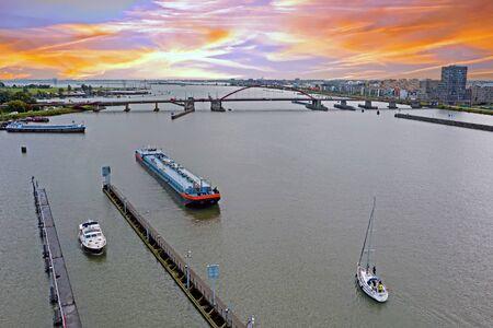 Aerial from the 'Oranje sluizen' in Amsterdam the Netherlands